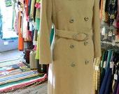 Off Season SALE.  1960's Vintage Fur, Cream & Lavender Belted Coat
