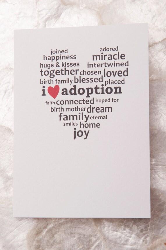 I Heart Adoption Card (Single), Adoption Sayings, Adoption Gifts, Adoption Art, Adoption Gift Ideas
