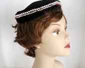 Black Velvet Hat with Rhinestones