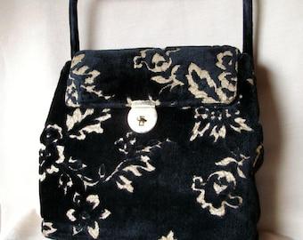 Vintage  Handbag Velvet Brocade in Black and Gold ON SALE was 75
