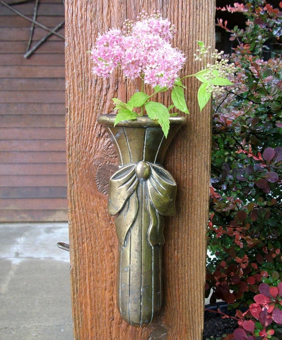Brass Wall Pocket Vase Vintage with Bow