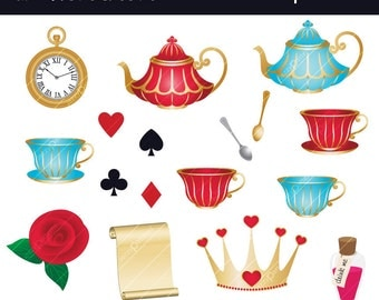 In Wonderland clipart set CA022 instant download
