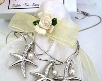 Starfish and Pearl Necklace Bridesmaids Beach Wedding Destination