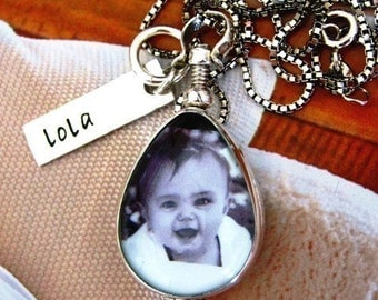 Teardrop Photo Locket Personalized Mothers Tag Antiqued Glass Sterling Perfect Gift New Moms or Mothers