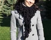Handmade Women Scarf , Crochet Scarf  winter scarf  Black Mulberry Scarf No12 -  Spring  accessories - Women Accessories  Womens scarf