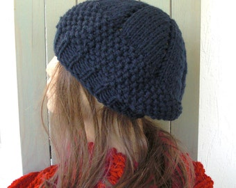 Hand Knit Hat - Womens hat- beret  Navy Blue  Women Beret  Fall   Fashion Winter Knit  Accessories hat fashion tam gift for her