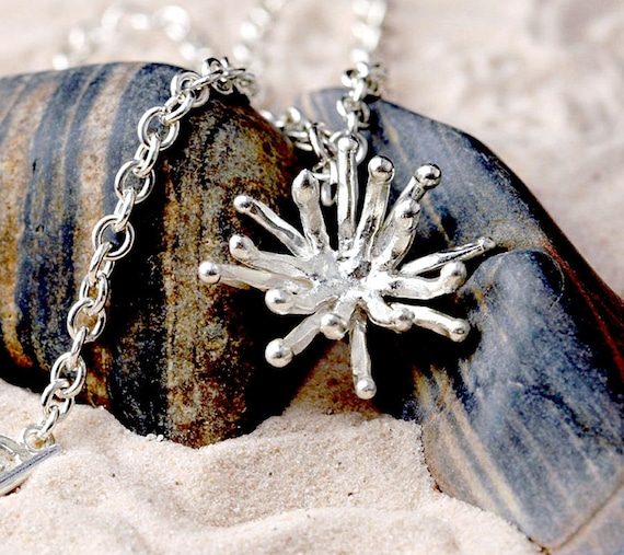 sea anemone necklace in fine silver: nature jewelry, biology jewelry, ocean tidepool science jewelry, beach necklace, sea life, tide pool