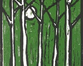 Trees with Moon Limited Edition Woodblock/ Woodcut Print, Hand Pulled Print, Various Colors