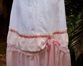 SALE.. cotton, linen, roses.. shabby chic.. pretty layered skirt.. ooak.. pinks .. size small   vintage kitty...