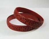 Pair of Vintage Art Deco Cinnabar Bracelets - Red - Oriental - Floral - Cyber Monday Sale