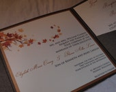Fall branch leaves pocketfold wedding invitation (SAMPLE)