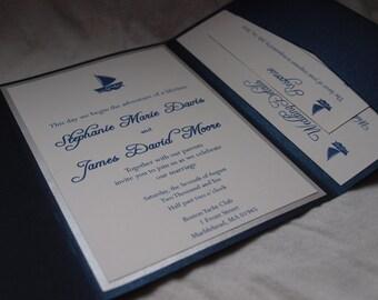 Sailboat pocketfold wedding invitation (SAMPLE)