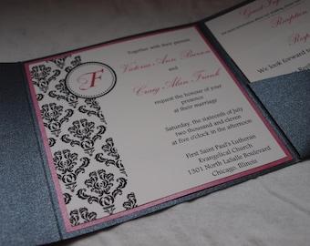 Damask monogram pocketfold wedding invitation (SAMPLE)