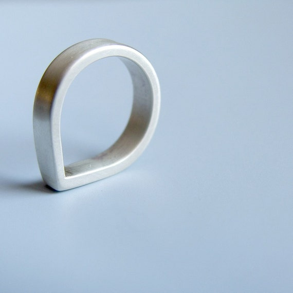 Heavy Band Tear Shaped Ring Sterling Silver Band
