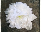 Romantic flower bridal clip, sash, or brooch with lace