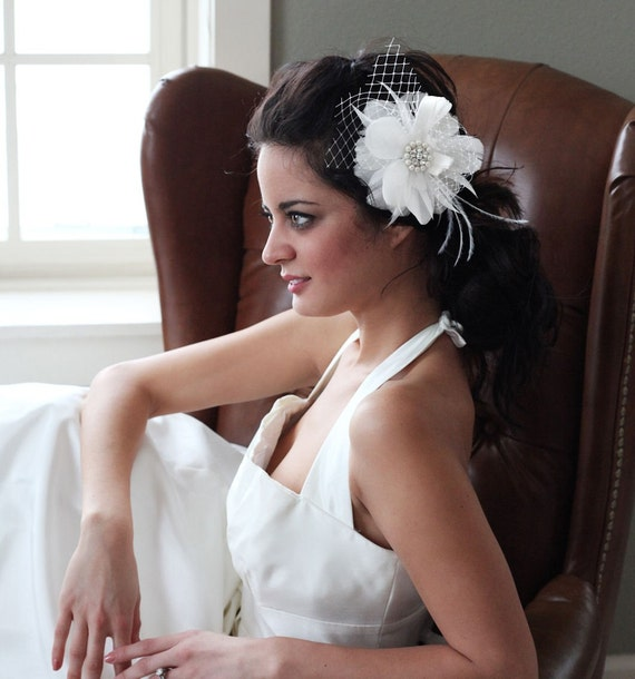 Feather Flower bridal clip or comb with pearls rhinestones