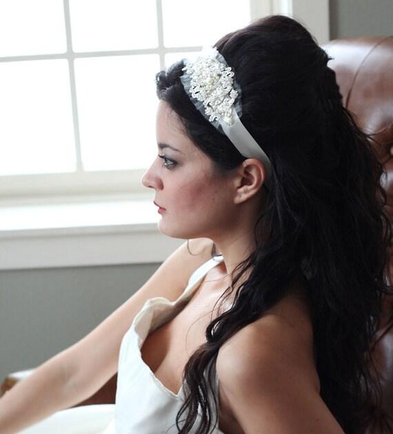 Rhinestone and Pearls bridal ribbon headband