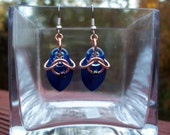 Dangle Earrings Copper and Blue Chainmail Scale Earrings Great Holiday Gift Idea