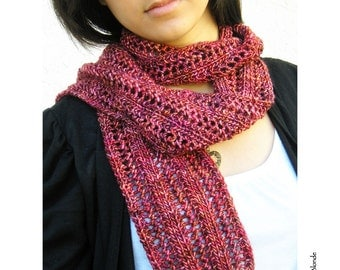 Lacy Fashion Scarf, Cranberry Red Premium Merino Wool Hand Dyed, Hand Knit, Burgundy Maroon Claret - Made to Order