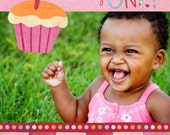 Cupcake First Birthday Custom Photo Invitation
