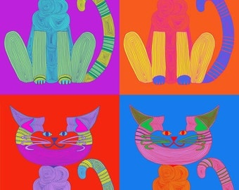 Cat Art Cards- Andy Warhol Print 5x7 Card- Pop Art- Whimsical Cat Art- by beckyzimm