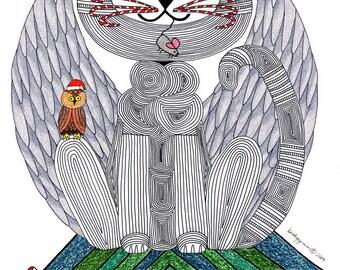 Cat Angel- Christmas Cat Card- Cat Art Card- Angel Cat- Cat Art- Cat Illustration- Cat Drawing- Cat Lover- Crazy Cat Lady- by beckyzimm
