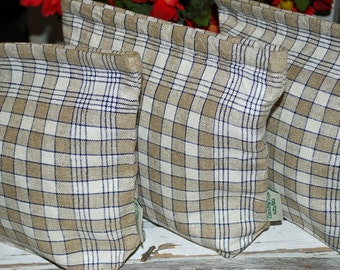 Vintage Linen Sandwich/Snack Storage Bags with Food Safe Liner (1Bag) Navy, Cream, and Oatmeal