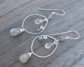 Labradorite Moonstone Earrings- Silver, Wire Wrapped Hoops, Hammered Wire with Gemstones