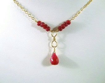 Ruby Infinity Necklace- Gold Filled, Hammered Wire