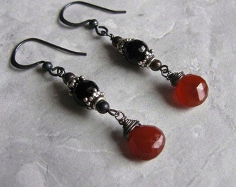 Chalcedony Onyx Earrings- Oxidized Silver, Wire Wrapped, Red Chalcedony