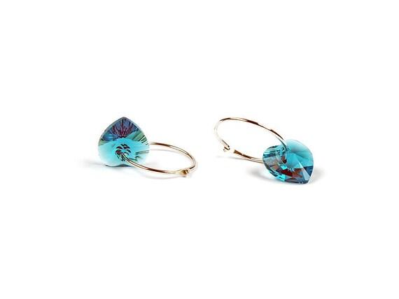 Sterling Silver Earrings, Sterling silver hoop, Swarovski Crystal Hearts, Blue Zicon, Teal, Swarovski Crystal, Heart Earrings, FREE SHIPPING