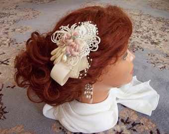 Brides Victorian pink porcelain rose and satin and lace ornate barrette