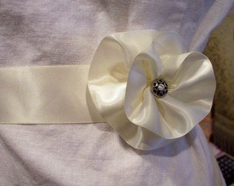 Bridal Satin Belt sash Rolled rosette with vintage rhinestone center
