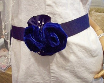 Bridal sash belt Navy gosgrain ribbon with navy velvet roses and rhinestones