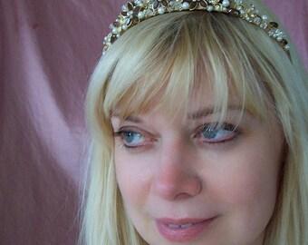 The GODDESS Autumn Gold and chocolate tiara crown fall princess brown tan