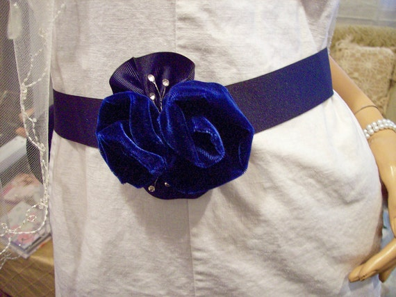 Bridal sash belt Navy gosgrain ribbon with navy velvet roses and rhinestones