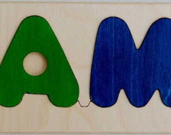 Wooden Name puzzle with Puppy shape will be a favorite toy for baby boys and girls -a cute birth gift, first birthday gift, Christmas gift