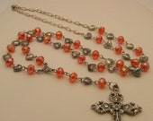 Vintage Style Dark Pink Crystals and Silver Puff Hearts Long Rosary