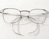 B & L Classic Early Aero White Gold Clubmaster Eyeglass or Sunglasses Frame. Vintage. Art Deco Ray Bans.