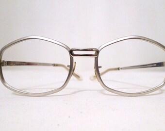 Vintage 70s Mod Polygon Frame Unused Aluminum Eyeglasses/ Metal Aviators, Hexagonal Sunglasses Frames hippy hippie  on sale