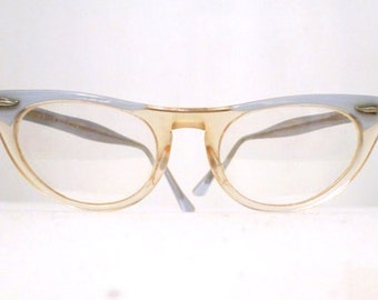 Baby Blue & Clear Cat Eye Frames, Small Clear Horn Rimmed Eyeglasses Sunglasses SALE MCM Eyewear