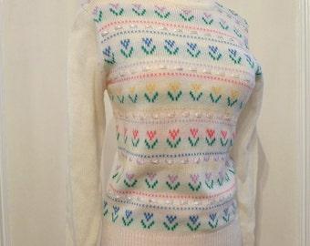 Pastel Ribbon & Tulips Sweater Vintage 1970s OffWhite Jumper Pastel Pattern Non-Wool Medium on sale