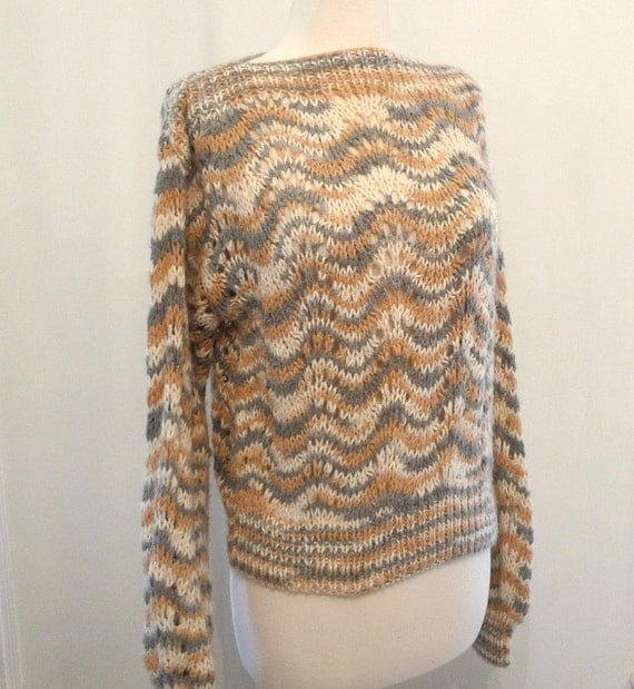 Vintage Pullover Sweater / Wool-Alternative Boat Neck Neutral Tones Jumper / Women / Men