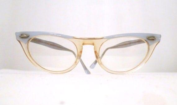 Baby Blue & Clear Cat Eye Frames, Small Clear Horn Rimmed Eyeglasses Sunglasses SALE MCM Eyewear