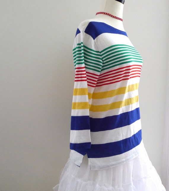 Nautical Bateau Top/Boat Neck Long Sleeved Tee Shirt/Primary Rainbow Stripes TShirt//Women / Men