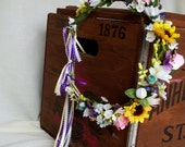 Flower Crown Sunflower Hippie Head Wreath EDC Music Festival Headband Bridal hair Accessories summer wedding flower crown with bells ribbons