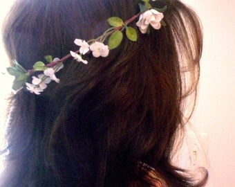 Ready to Ship Flower girl halo Wedding Hair Wreath -Alana- cottage chic Bridal Flower Crown Ivory Bridal party Accessories Rustic Headpiece