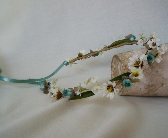 Free Spirit Daisy Flower Crown Hair Wreath Boho Baby headband photo prop -Ella- Aqua Bridal flower girl halo wedding accessories festival