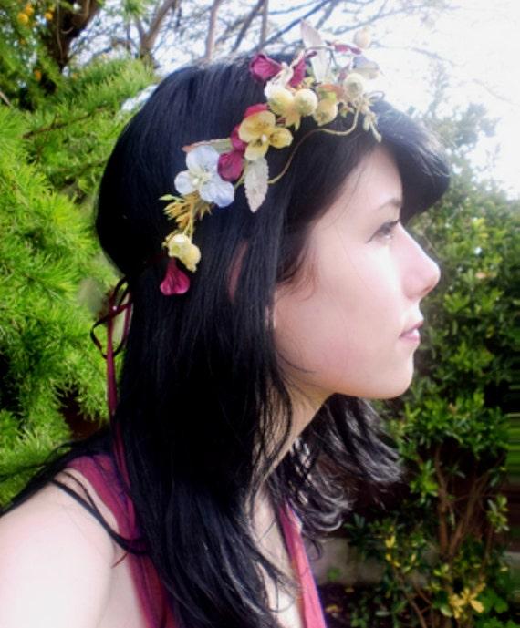 Hair Accessory Bohemian Princess Flower Crown Headwreath Circlet plum bridal headpiece summer fall headband Woodland festival hair wreath