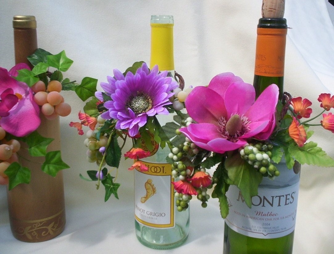 Custom made tropical wedding idea centerpieces wine bottle for Wedding table decorations with wine bottles